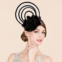 cheap Party Headpieces-Flax Feather Silk Fascinators Hats 1 Wedding Special Occasion Casual Headpiece