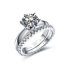 cheap Rings-Women's Statement Ring Synthetic Diamond Silver Sterling Silver Rhinestone Platinum Plated Six Prongs Infinity Costume Jewelry