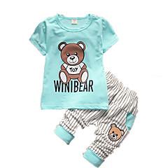 billige Sett med babyklær-Baby Drenge Tøjsæt Bomuld Sommer Kortærmet Tegneserie Hvid Grøn Lyseblå