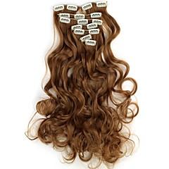 baratos Extensões de Cabelo Sintéticas-Extensões de cabelo humano Alta qualidade Ondulado Clássico Mulheres Diário