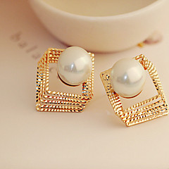 cheap Earrings-Women's Pearl / Rhinestone Stud Earrings - Vintage / Fashion Silver / Golden Square / Geometric Earrings For Party / Daily / Casual