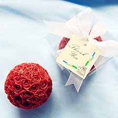 4box / set - nedime / bachelorette kırmızı gül mumundan yana (6.5 x 6.5 x 6.5 cm / kutu) düğün hatıra