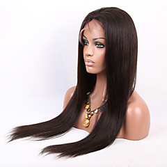 billiga Peruker och hårförlängning-Äkta hår Hel-spets Peruk Rak 130% Densitet 100 % handbundet Afro-amerikansk peruk Naturlig hårlinje Lång Dam Äkta peruker med hätta