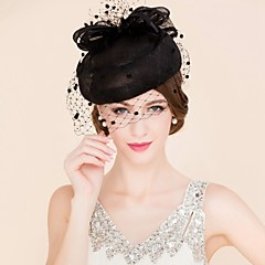 cheap Party Headpieces-Tulle Flax Fascinators Hats Birdcage Veils 1 Wedding Special Occasion Casual Headpiece