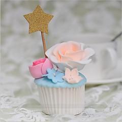 Kakepynt Ikke-personalisert Hjerter Kort Papir Bryllup / Jubileum / Bursdag Blomster Gull Strand Tema / Klassisk Tema 10 OPP