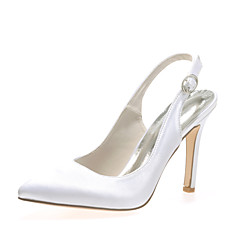 Women 'S Sandals Summer Stretch Satin Wedding Party Amp Evening Low Heel Crystal Ivory White Others B074L21T1S