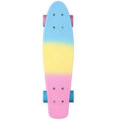 22 polegadas Cruisers skate Profissional PP (Polipropileno) Abec-7-Azul+Rosa Arco-Íris