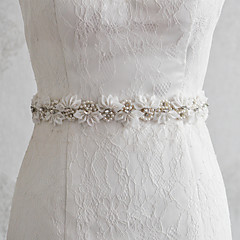 Satin Wedding Party/ Evening Dailywear Sash With Beading Appliques Floral Pearls