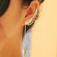 baratos -Feminino Brincos Compridos Cristal Moda Europeu Liga Asas / Penas Em forma de U Jóias Para Diário Casual