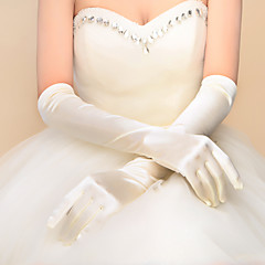 Elastic Satin Elbow Length Glove Bridal Gloves With Pleated