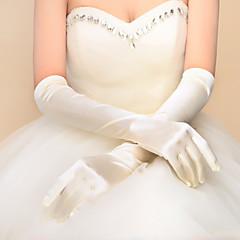 joustava satiini kyynärpää pituus hansikas häämekko, jossa laskostettu tyylikäs tyyli