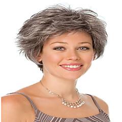 billiga Peruker och hårförlängning-Syntetiskt hår peruker Lockigt Utan lock Karneval peruk Halloween Paryk svart peruk Korta Grå