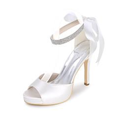 olcso -Női Cipő Szatén Tavasz Nyár Magasított talpú Esküvői cipők Tűsarok Lábujj nélküli Strasszkő Lyukacsos Kompatibilitás Esküvő Party és