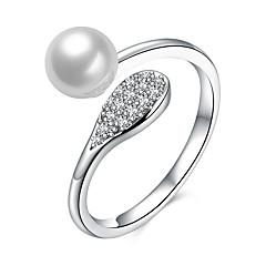 billige Motering-Dame Cluster Ring - Perle, Sølv, Zirkonium Unikt design Justerbar Sølv Til Bursdag Virksomhet Gave