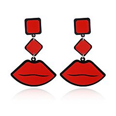 cheap Earrings-New Fashion Big Brand Classic Luxurious Elegant Sexy Women Red Lips Acrylic Drop Earrings For Women Girls Long Earring