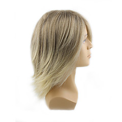 cheap Wigs & Hair Pieces-Synthetic Wig Men's / Women's Wavy Blonde With Bangs Synthetic Hair Blonde Wig Mid Length Capless Blonde