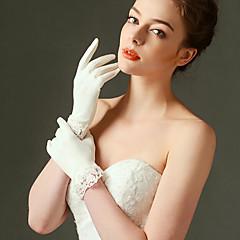 elastische satijnen polslengte handschoen bruids handschoenen klassieke vrouwelijke stijl