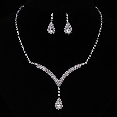 Women's Jewelry Set Drop Earrings Pendant Necklaces Fashion Elegant Costume Jewelry Sterling Silver Rhinestone Drop Jewelry Necklaces