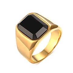 Men's  Personality Generous Agate Stainless Steel High Polished  IP Gold  Plating Band Rings(1Pc) Christmas Gifts