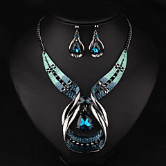 cheap Jewelry Sets-Women's Jewelry Set - Drop Luxury, European, Fashion Include Necklace / Earrings Gold / Blue For Party / Daily / Casual