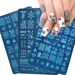 albastru de film placă de imprimare fierbinte de Crăciun serie de unghii șablon de unghii