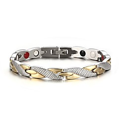 Men's Fashion  Individual Stainless Steel Silver And Gold Plated Circle Shape Chain Bracelets(1pc) Gifts