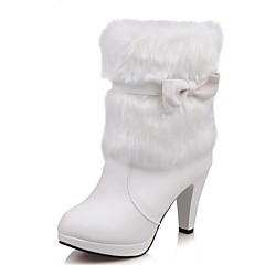 Χαμηλού Κόστους Hot Women's Flats-Γυναικεία Συνθετικό / Λουστρίν / Δερματίνη Άνοιξη / Φθινόπωρο / Χειμώνας Καουμπόη / Μπότες της Δύσης / Μπότες Μάχης Τακούνια Περπάτημα Τακούνι Στιλέτο Φιόγκος Λευκό / Μαύρο / Ροζ / Γάμου