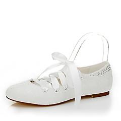 Dame Pantofi Flați Primăvară Vară Toamnă Iarnă Mătase Nuntă Rochie Party & Seară Toc Plat Dantelă Fildeș Altele