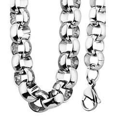男性用 女性用 女性 ジュエリーセット ネックレス/ブレスレット リンク/チェーン ファッション パーティー 日常 カジュアル ステンレス鋼 円形 ネックレス ブレスレット