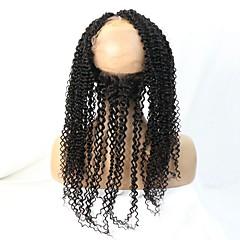 billiga Peruker och hårförlängning-Kinky Curly Klassisk 360 Fasad Schweizisk spetsperuk Äkta hår Fria delen Mittparti 3 Del Hög kvalitet Dagligen