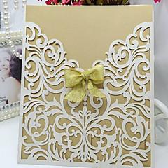 Embrulhado e de Bolso Convites de casamento 10-Cartões de convite Estilo Borboleta Papel Acetinado Tiras