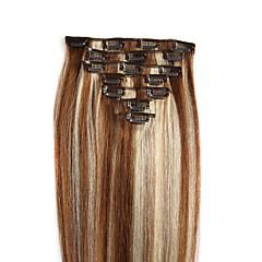 お買い得  人毛エクステンション-Clip In 人間の髪の拡張機能 人毛 ストレート 7PCS /パック 8本/パック 16 インチ 18 インチ 20 インチ 22 インチ 24 インチ