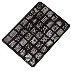 billige Neglestempling-1 pcs Stampplate Mal Neglekunst Manikyr pedikyr Mote Daglig / stempling Plate / Stål