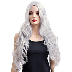 billiga Peruker och hårförlängning-Syntetiska peruker / Kostymperuker Vågigt Syntetiskt hår Vit Peruk Dam Väldigt länge Cosplay Peruk Utan lock