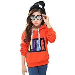 billige Hættetrøjer og sweatshirts til piger-Pige Daglig I-byen-tøj Hættetrøje og sweatshirt, Bomuld Forår Efterår Vinter Langærmet Tegneserie Orange Lilla Gul