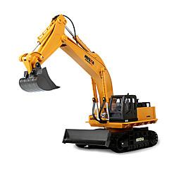 baratos Carros Controle Remoto-Carro com CR HUINA 1510 11 canais 2.4G Escavadora / Veiculo de Construção 10 km/h KM / H Controlo Remoto / Recarregável / Elétrico