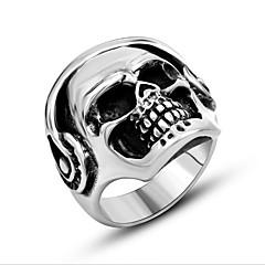 Herre Ring Smykker Punkestil Personalisert kostyme smykker Titanium Stål Skjeletthode Ondt øye Smykker Til Daglig Avslappet
