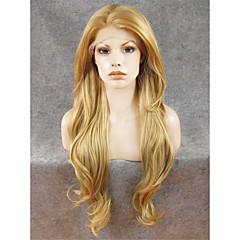 tanie Peruki syntetyczne-Syntetyczne koronkowe peruki Damskie Falowana Blond Włosie synetyczne Naturalna linia włosów Blond Peruka Siateczka z przodu Blond