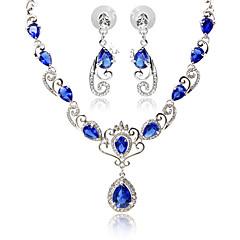 baratos Conjuntos de Bijuteria-Mulheres Sapphire sintético Ruby Sintético Diamante sintético Conjunto de jóias - Asas de anjo Incluir Preto / Vermelho / Azul Para Festa Diário Casual