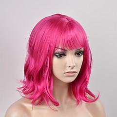 billiga Peruker och hårförlängning-Syntetiska peruker Naturligt vågigt Rosa Syntetiskt hår Rosa Peruk Dam Korta Utan lock Röd
