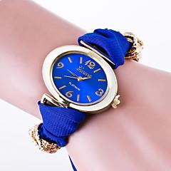 Damen Modeuhr Armband-Uhr Quartz / Stoff Band Blume Freizeit Schwarz Weiß Rot Braun Grün Rosa Gelb Marinenblau Rose