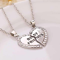 Fashion Jewelry Gold Plated Crystal Broken Heart Pendant Parts 2 Best Friend Necklaces Pendants for Friends