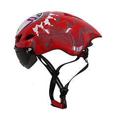 billige -Bike Helmet 6 Ventiler CE Cykling Justerbar Extreme Sport En del Hjelm med Briller Aero-hjelm Urban Bjerg Ultra Lys (UL) Sport Ungdom PC