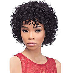 cheap Wigs & Hair Pieces-Human Hair Wig Afro Deep Wave Wig With Bangs 130% Density Natural Hairline African American Wig 100% Hand Tied Women's Short Medium Length Human Hair Capless Wigs