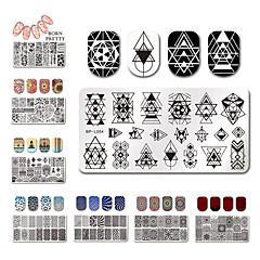 12 * 6cm rectangle ongles estampage plaques modèle beau design manucure nail art image de timbre plaque ensemble