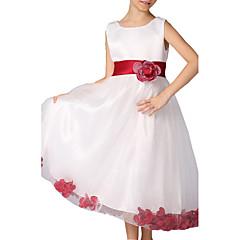 billige Pigekjoler-Børn Pige Blomster / Rosette Daglig / I-byen-tøj Ensfarvet / Blomstret Uden ærmer Polyester Kjole Guld