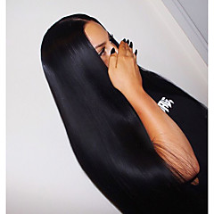 billiga Peruker och hårförlängning-Remy-hår Hel-spets Peruk Rak Med babyhår 120% Densitet 100 % handbundet Naturlig hårlinje 10 inch 12 Inch 14 inch 16 inch 18 inch 20 inch