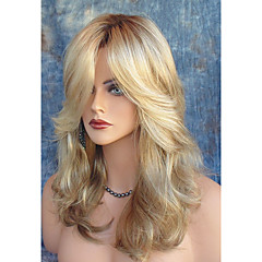 cheap Wigs & Hair Pieces-Synthetic Wig Women's Natural Wave Blonde With Bangs Synthetic Hair Heat Resistant / Dark Roots / Side Part Blonde Wig Long Capless Light Blonde