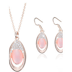 baratos Conjuntos de Bijuteria-Mulheres Opala Conjunto de jóias - Opala Incluir Rosa claro Para Casamento / Festa / Colares