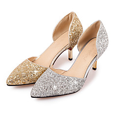 cheap Wedding Shoes-Women's Shoes Glitter Spring Summer Heels Stiletto Heel Pointed Toe Sequin for Wedding Office & Career Party & Evening Gold Silver